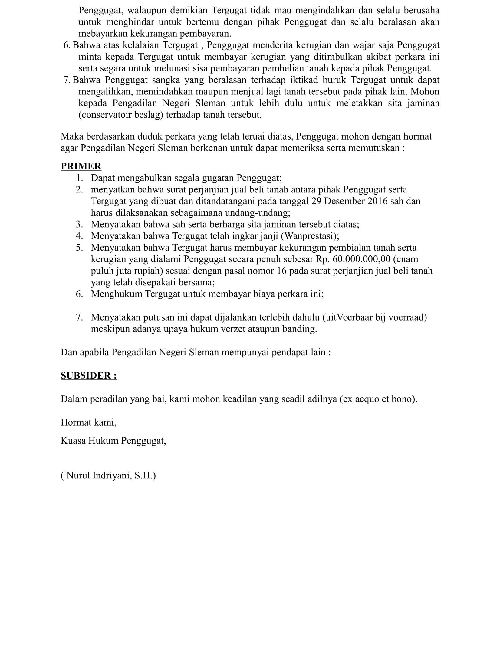 Contoh Surat Gugatan Perdata Sengketa Tanah Pdf Doylc Asia