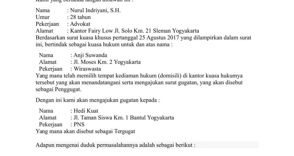 Download Contoh Surat Gugatan