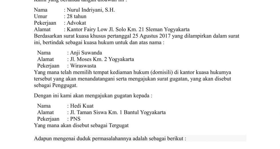 Download Gratis Contoh Surat Gugatan Wanprestasi