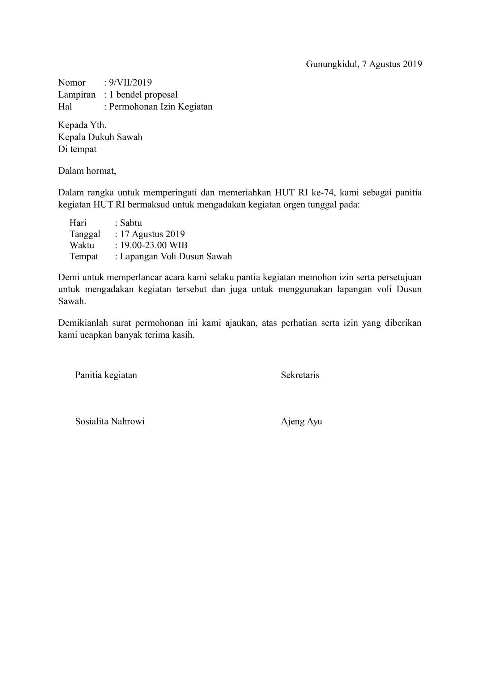 Contoh surat izin Surat Proposal Tanggal