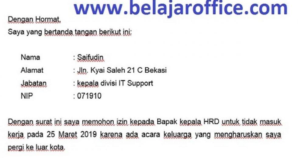 Download Contoh Surat Izin Kerja