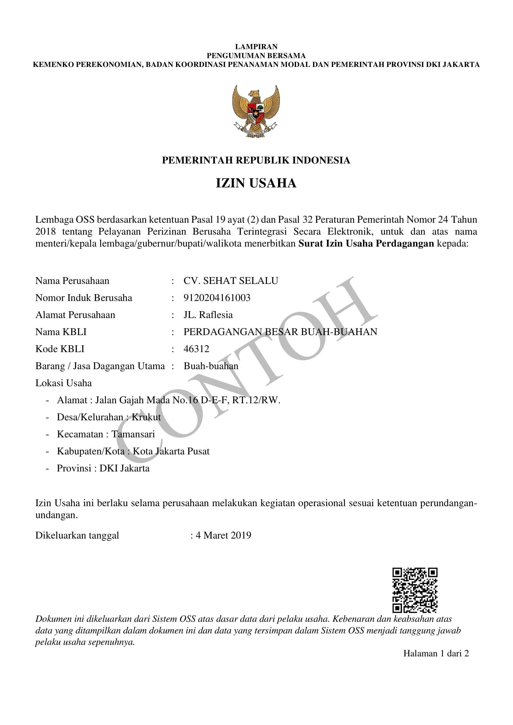 Contoh Surat Izin Usaha Perdagangan Dari Kelurahan