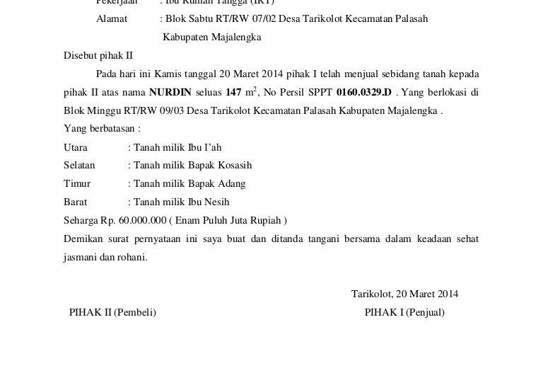 Download Contoh Surat Jual Beli Tanah