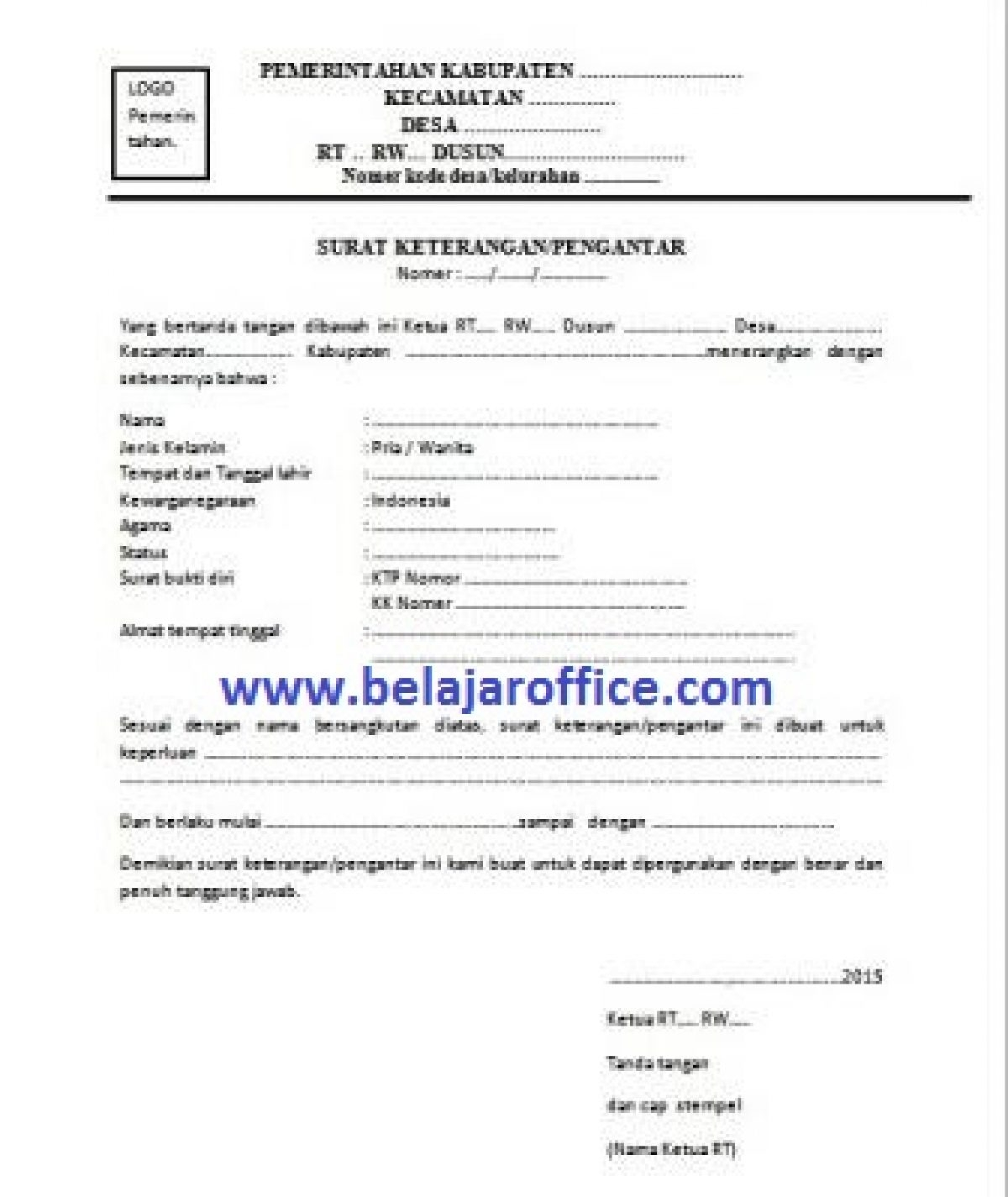 Contoh Surat Keterangan Pengantar RT Belajar Office