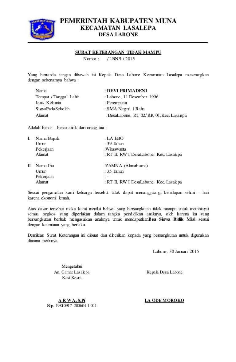 Contoh Surat Keterangan Tidak Mampu Dari DESA Ketua RW Ketua