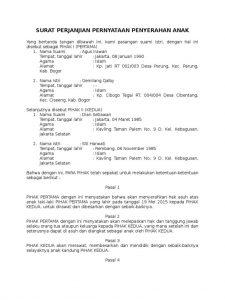 Contoh Surat Perjanjian Adopsi Anak Kumpulan Contoh Terlengkap