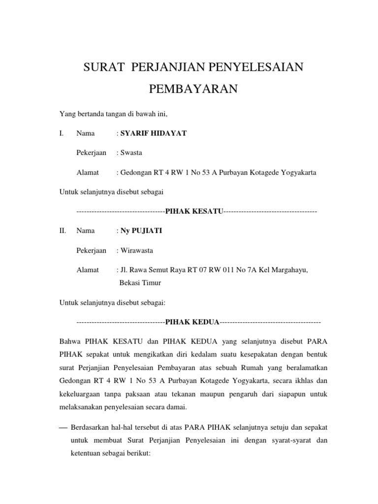 Contoh Surat Pernyataan Pembayaran Hutang Surat Buku