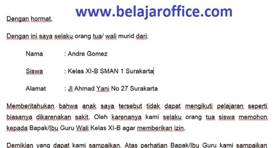Download Contoh Surat Izin