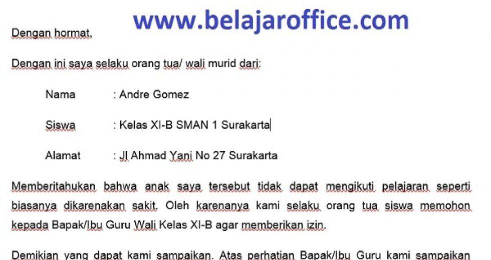 Download Contoh Surat Izin Sekolah