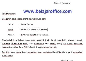 Download Gratis Contoh Surat Izin Tidak Masuk Sekolah