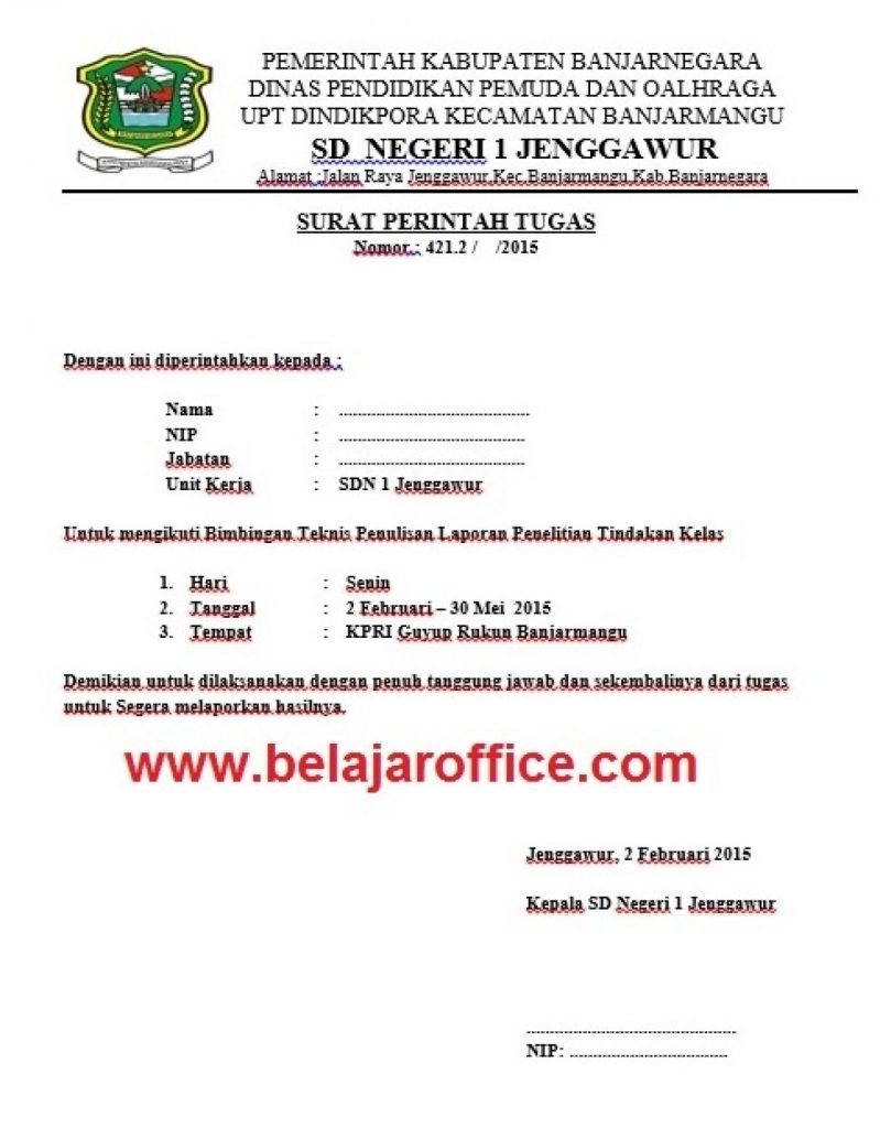 Contoh Surat Tugas Dinas Dan Surat Tugas Guru Belajar Office