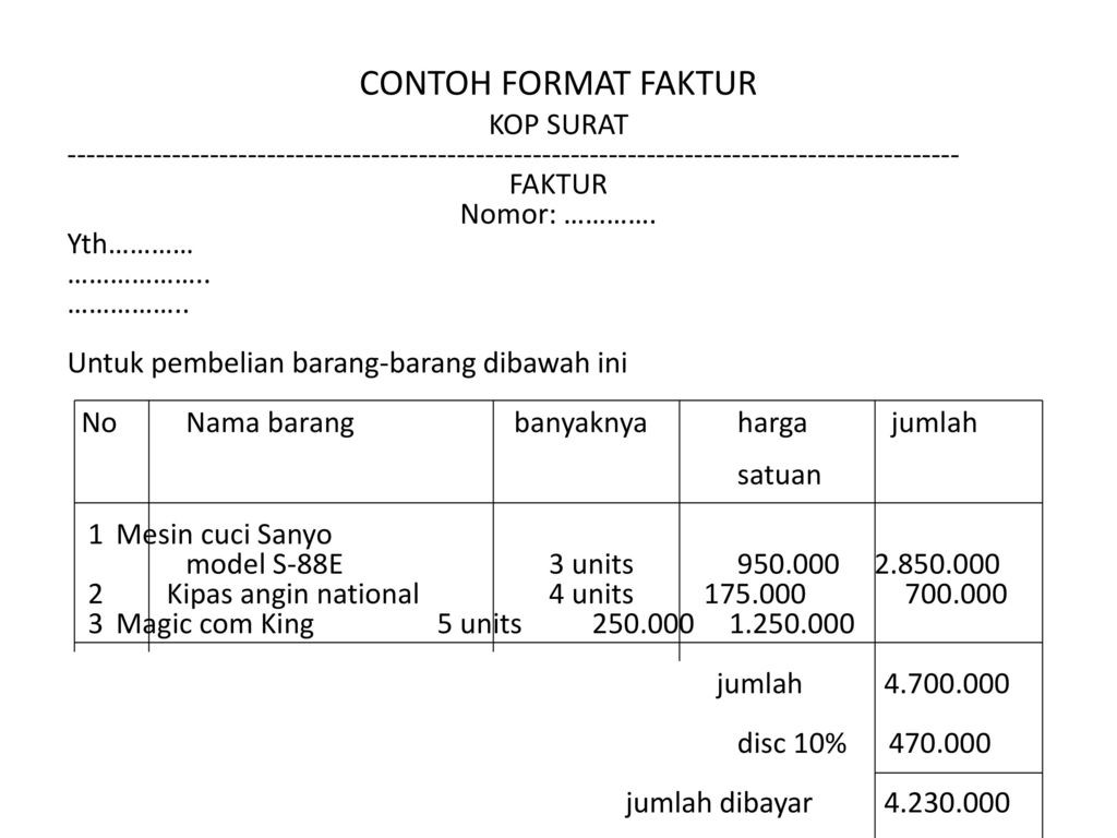 Created For Just One Purpose Contoh Surat Faktur