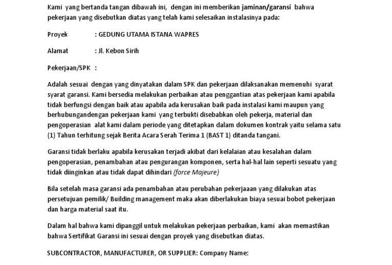 Download Gratis Contoh Surat Garansi