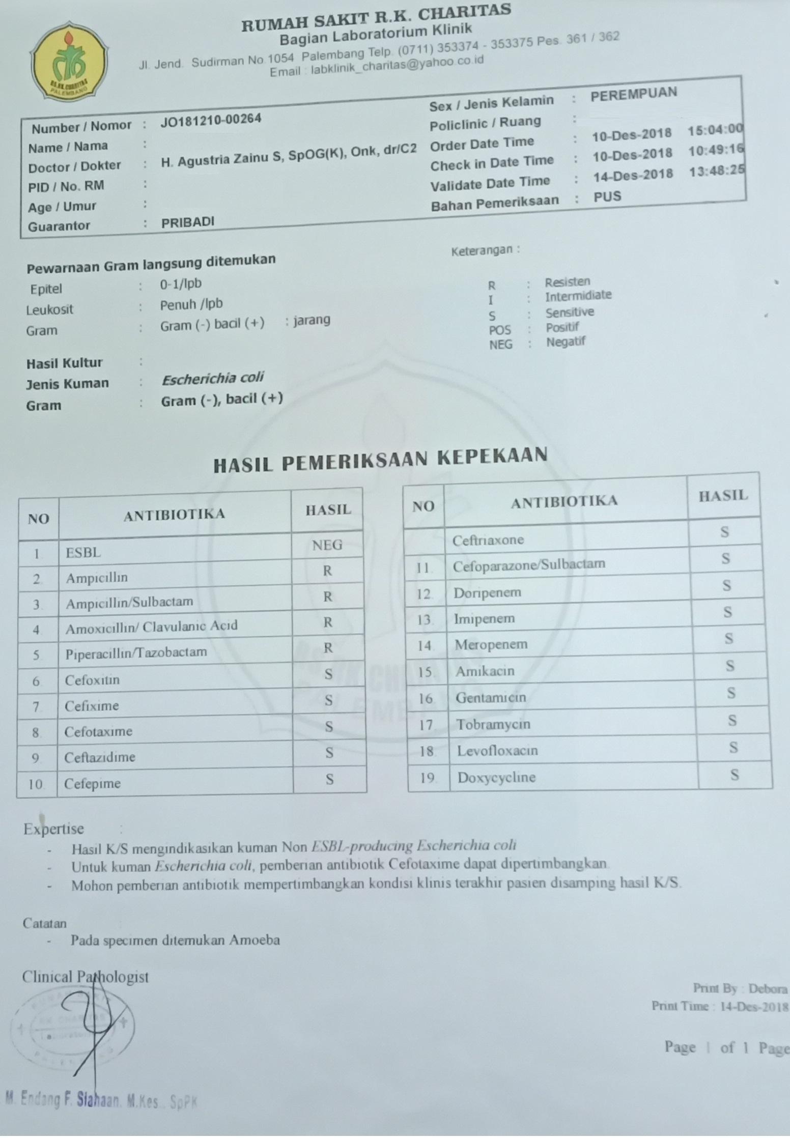 Laboratorium Klinik Charitas Hospital Palembang