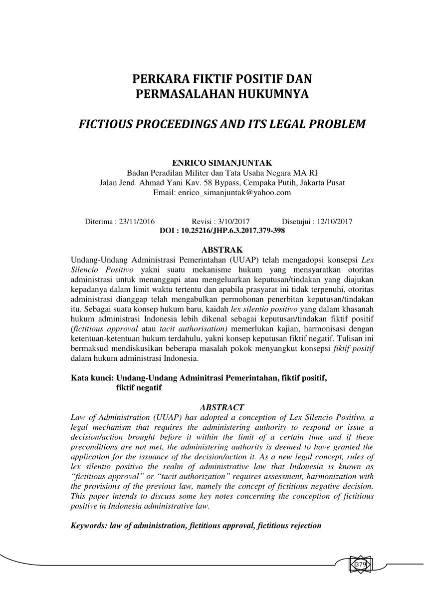 PDF PERKARA FIKTIF POSITIF DAN PERMASALAHAN HUKUMNYA FICTIOUS