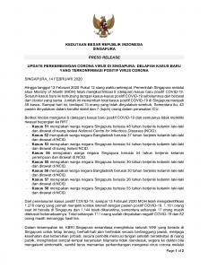 PRESS RELEASE 14 FEBRUARI 2020 Update Perkembangan Corona Virus