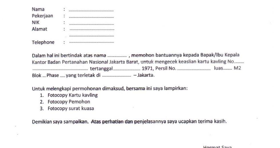 Download Contoh Surat Hak Milik Tanah