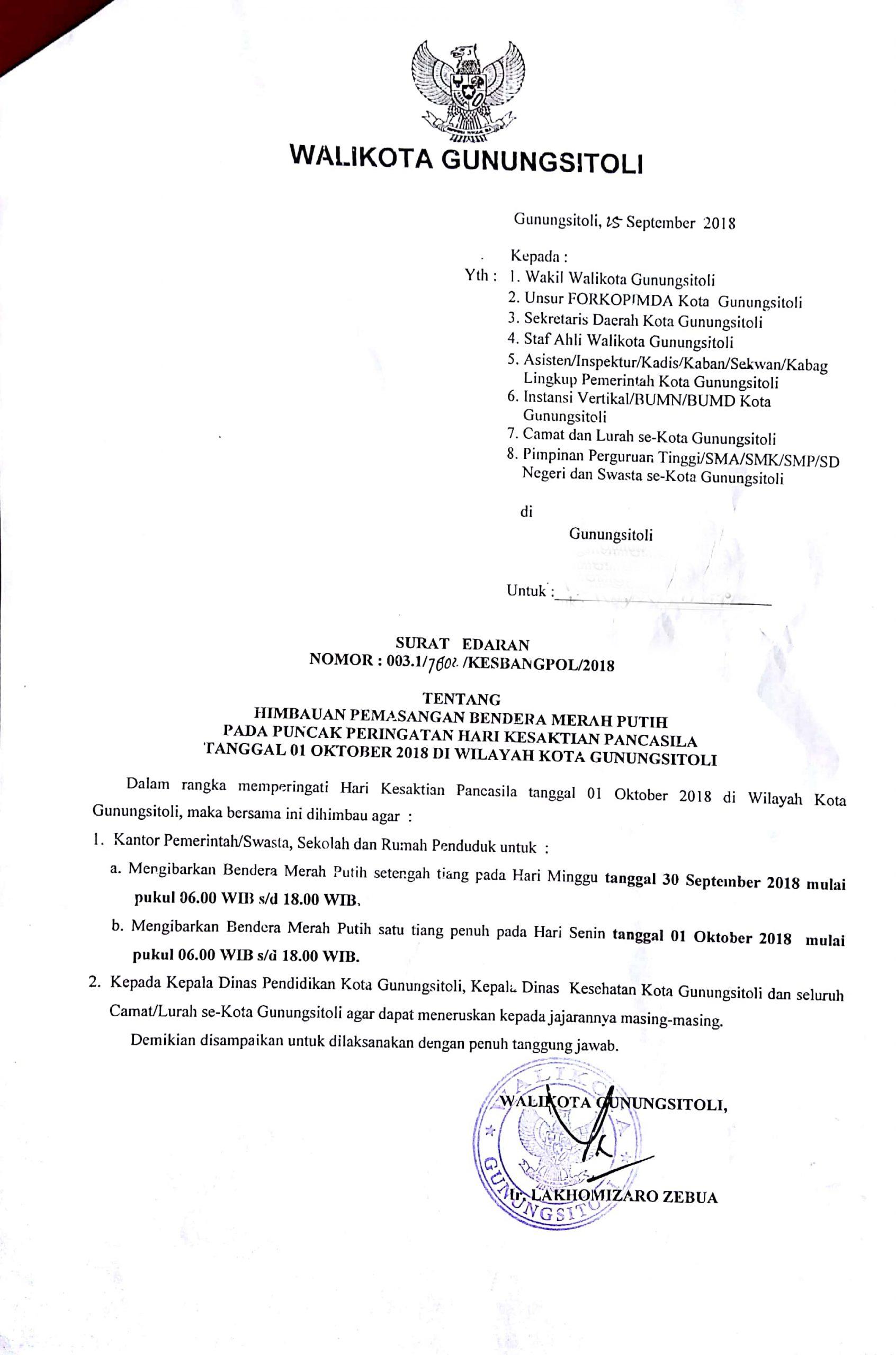 Surat Edaran Himbauan Pemasangan Bendera Merah Putih Pemko