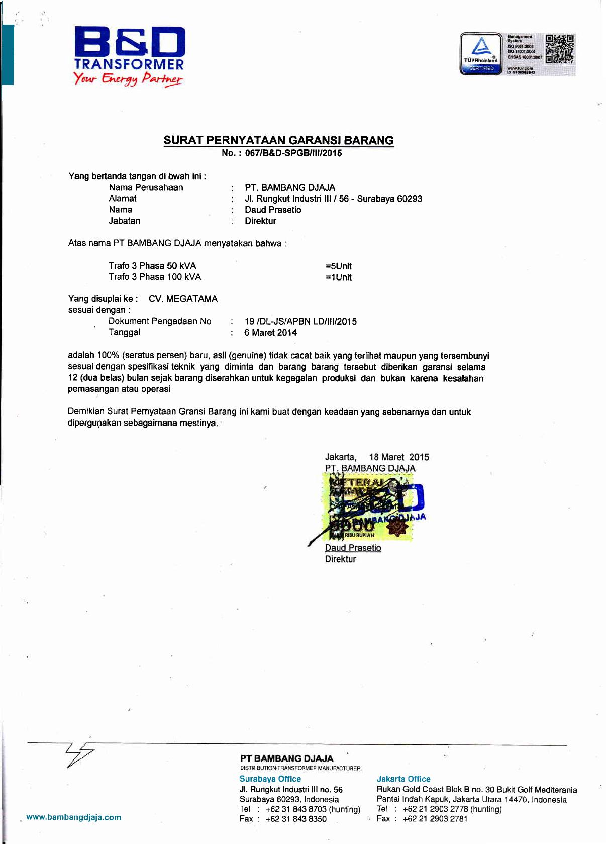 Surat Garansi CV megatama Paket 19