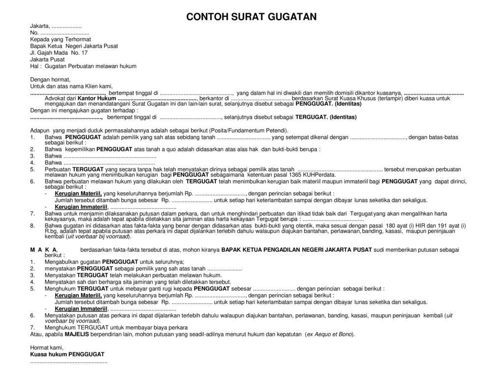 SURAT GUGATAN Ppt Download