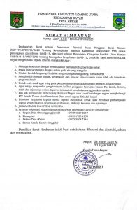 Surat Himbauan Kepala Desa Anyar Terkait Pencegahan Penyebaran