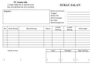 Download Gratis Contoh Surat Jalan