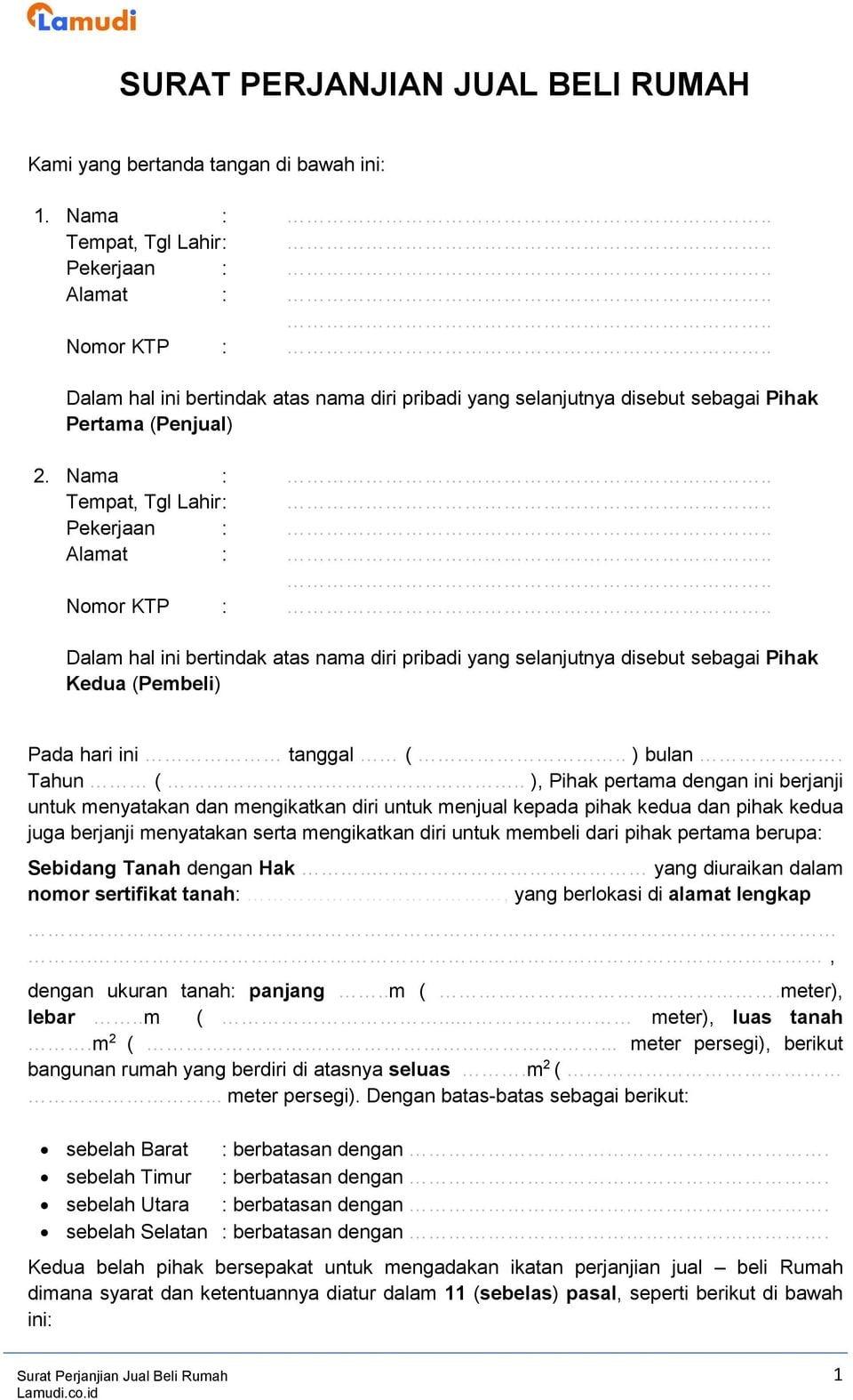 SURAT PERJANJIAN JUAL BELI RUMAH PDF Free Download