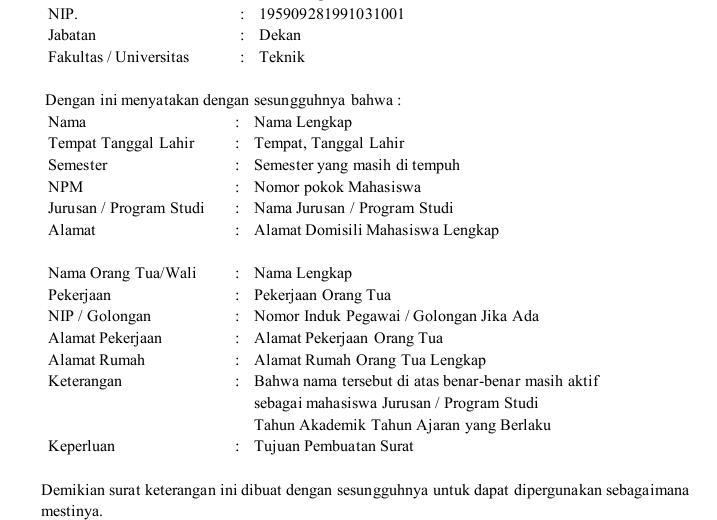 Download Contoh Surat Aktif Kuliah